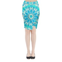 Blue Ice Goddess, Abstract Crystals Of Love Midi Wrap Pencil Skirt