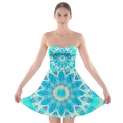 Blue Ice Goddess, Abstract Crystals Of Love Strapless Bra Top Dress