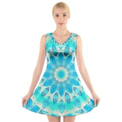 Blue Ice Goddess, Abstract Crystals Of Love V Neck Sleeveless Skater Dress
