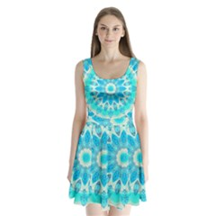 Blue Ice Goddess, Abstract Crystals Of Love Split Back Mini Dress