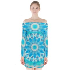 Blue Ice Goddess, Abstract Crystals Of Love Long Sleeve Off Shoulder Dress by DianeClancy