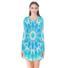 Blue Ice Goddess, Abstract Crystals Of Love Flare Dress