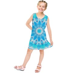Blue Ice Goddess, Abstract Crystals Of Love Kids  Tunic Dress by DianeClancy