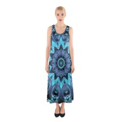Star Connection, Abstract Cosmic Constellation Sleeveless Maxi Dress