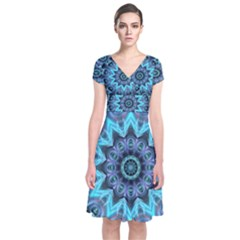 Star Connection, Abstract Cosmic Constellation Short Sleeve Front Wrap Dress