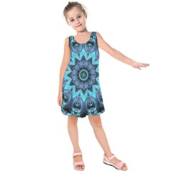 Star Connection, Abstract Cosmic Constellation Kids  Sleeveless Dress