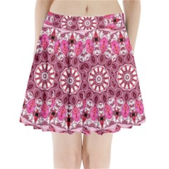 Twirling Pink, Abstract Candy Lace Jewels Mandala  Pleated Mini Skirt