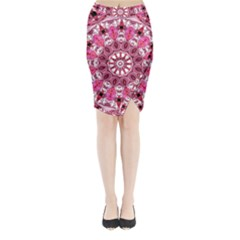Twirling Pink, Abstract Candy Lace Jewels Mandala  Midi Wrap Pencil Skirt