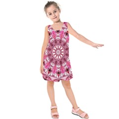 Twirling Pink, Abstract Candy Lace Jewels Mandala  Kids  Sleeveless Dress
