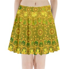Yellow Green Abstract Wheel Of Fire Pleated Mini Skirt