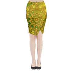 Yellow Green Abstract Wheel Of Fire Midi Wrap Pencil Skirt
