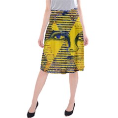 Conundrum Ii, Abstract Golden & Sapphire Goddess Midi Beach Skirt by DianeClancy