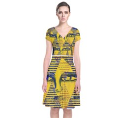 Conundrum Ii, Abstract Golden & Sapphire Goddess Short Sleeve Front Wrap Dress by DianeClancy