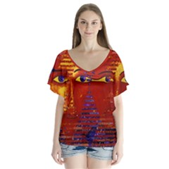 Conundrum Iii, Abstract Purple & Orange Goddess Flutter Sleeve Top