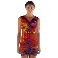Conundrum Iii, Abstract Purple & Orange Goddess Wrap Front Bodycon Dress by DianeClancy