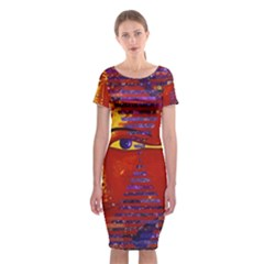 Conundrum Iii, Abstract Purple & Orange Goddess Classic Short Sleeve Midi Dress by DianeClancy
