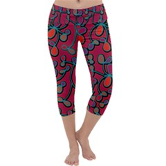 Red Floral Pattern Capri Yoga Leggings