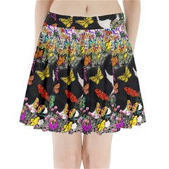 Freckles In Butterflies I, Black White Tux Cat Pleated Mini Skirt by DianeClancy