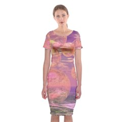 Glorious Skies, Abstract Pink And Yellow Dream Classic Short Sleeve Midi Dress by DianeClancy