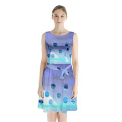 Moonlight Wonder, Abstract Journey To The Unknown Sleeveless Chiffon Waist Tie Dress