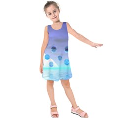 Moonlight Wonder, Abstract Journey To The Unknown Kids  Sleeveless Dress