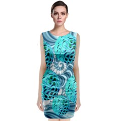 Teal Sea Forest, Abstract Underwater Ocean Classic Sleeveless Midi Dress by DianeClancy