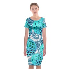 Teal Sea Forest, Abstract Underwater Ocean Classic Short Sleeve Midi Dress by DianeClancy