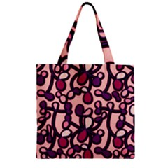 Pink And Purple Pattern Zipper Grocery Tote Bag