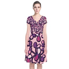 Pink And Purple Pattern Short Sleeve Front Wrap Dress by Valentinaart