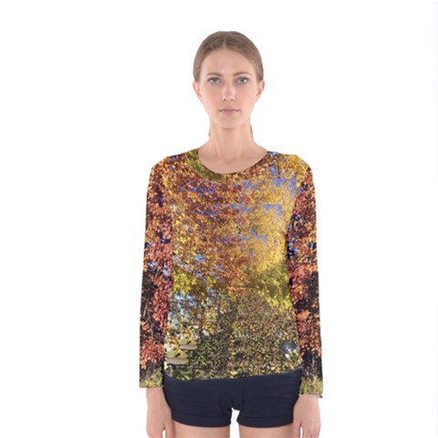 Autumn Trees Op Art Women s Long Sleeve Tee by SusanFranzblau