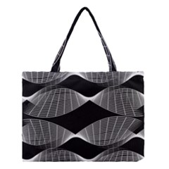 Wavy Lines Black White Seamless Repeat Medium Tote Bag by CrypticFragmentsColors