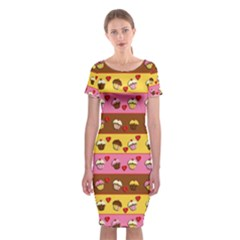 Cupcakes Pattern Classic Short Sleeve Midi Dress by Valentinaart