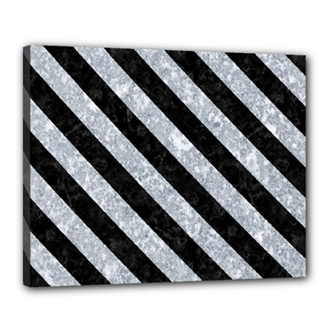 Stripes3 Black Marble & Gray Marble (r) Canvas 20  X 16  (stretched) by trendistuff