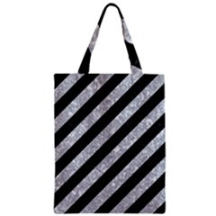 Stripes3 Black Marble & Gray Marble Zipper Classic Tote Bag by trendistuff