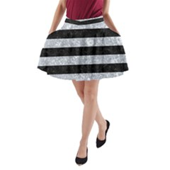 Stripes2 Black Marble & Gray Marble A Line Pocket Skirt