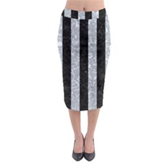 Stripes1 Black Marble & Gray Marble Midi Pencil Skirt by trendistuff