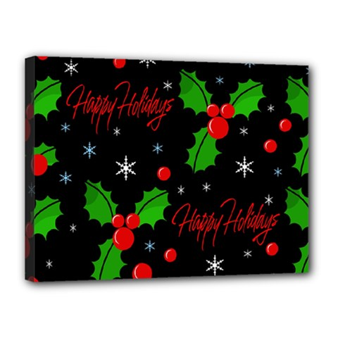 Happy Holidays Pattern Canvas 16  X 12  by Valentinaart