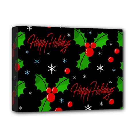 Happy Holidays Pattern Deluxe Canvas 16  X 12   by Valentinaart
