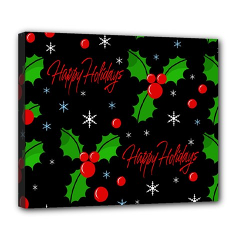 Happy Holidays Pattern Deluxe Canvas 24  X 20   by Valentinaart