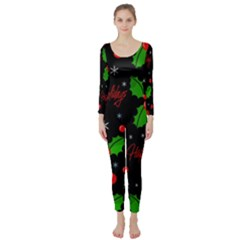 Happy Holidays Pattern Long Sleeve Catsuit by Valentinaart