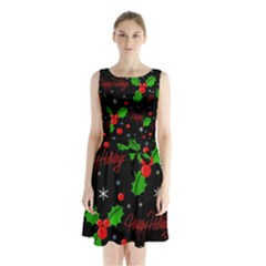Happy Holidays Pattern Sleeveless Chiffon Waist Tie Dress by Valentinaart