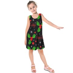 Happy Holidays Pattern Kids  Sleeveless Dress by Valentinaart
