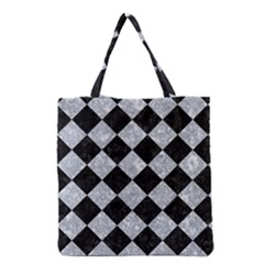 Square2 Black Marble & Gray Marble Grocery Tote Bag by trendistuff