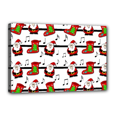 Xmas Song Pattern Canvas 18  X 12  by Valentinaart