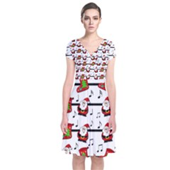 Xmas Song Pattern Short Sleeve Front Wrap Dress by Valentinaart