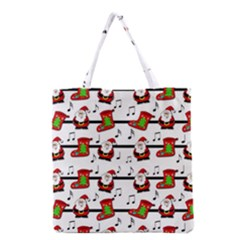 Xmas Song Pattern Grocery Tote Bag by Valentinaart
