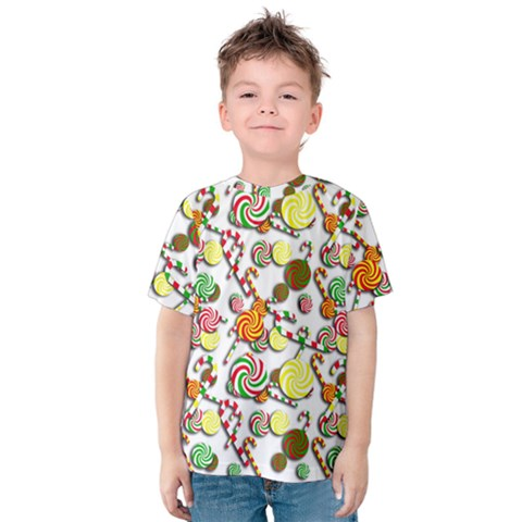 Xmas Candy Pattern Kids  Cotton Tee by Valentinaart