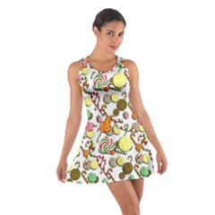 Xmas Candy Pattern Cotton Racerback Dress by Valentinaart