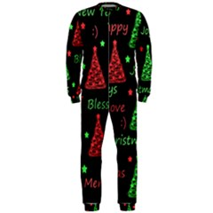 New Year Pattern   Red And Green Onepiece Jumpsuit (men)  by Valentinaart