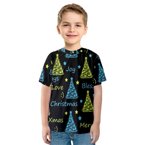 New Year Pattern   Blue And Yellow Kids  Sport Mesh Tee by Valentinaart